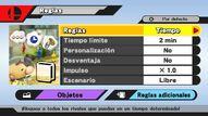 Pantalla de reglas SSB4 (Wii U)