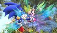 Sonic realizando un ataque aéreo contra Luigi SSB4 (Wii U)