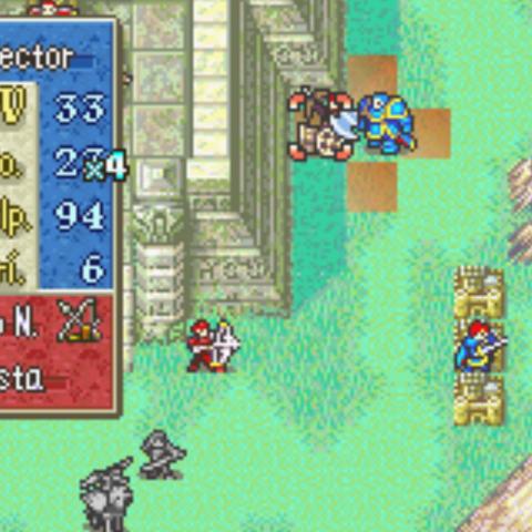 Hector a punto de atacar con el Hacha del valor en <i>Fire Emblem: Blazing Sword</i>.