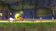 Aldeano tratando de agarrar al Destello SSB4 (Wii U)