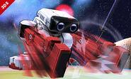 R.O.B. usando su ataque fuerte hacia abajo en la Senda Arco Iris SSB4 (3DS)
