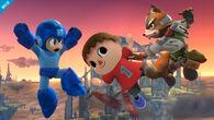 Mega Man, Aldeano y Fox en el Campo de batalla SSB4 (Wii U)