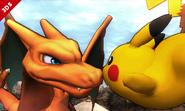 Charizard junto a Pikachu SSB4 (3DS)