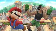 Mario y Little Mac recibiendo un K.O. de pantalla SSB4 (Wii U)