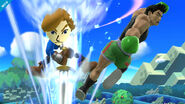 Mii Espadachin golpeando a Little Mac en Reino Champiñón U SSB4 (Wii U)