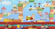 Pikachu, el Aldeano, Captain Falcon y Samus en el Reino de la lana (Wii U)