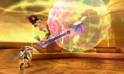 Pit atacando a un Maiva en Kid Icarus Uprising