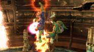 Captain Falcon atacando a Link en al Pirosfera SSB4 (Wii U)