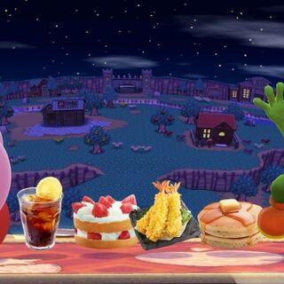 Kirby y Yoshi realizando sus burlas junto a un grupo de comida en <a href=