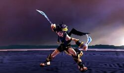 Pit Sombrio usando el Arco de plata como espada en Kid Icarus Uprising