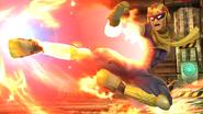 Captain Falcon usando su Patada Falcon en tierra en la Pirosfera SSB4 (Wii U)