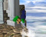 Luigi usando salto de recuperación 1 SSBM