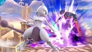 Mewtwo usando su ataque Smash hacia abajo contra Ike SSB4 (Wii U)