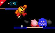 Pac-Man bajo los efectos de una Esfera de energía en el Laberinto SSB4 (3DS)