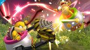 Wendy atacando a Iggy en las Llanuras de Gaur SSB4 (Wii U)