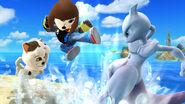 Mewtwo y dos Karatekas Mii con atuendos de DLC en Islas Wuhu SSB4 (Wii U)