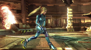 Samus Zero caminando en Pirósfera SSB4 (Wii U)