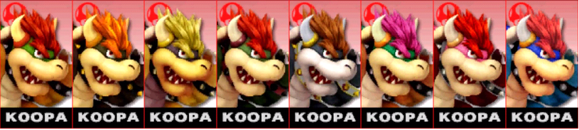 Paleta de colores de Bowser (JAP) SSB4 (3DS)
