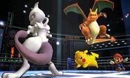 Mewtwo, Pikachu, Charizard y Mario en el Cuadrilátero SSB4 (3DS)