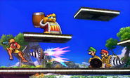 Luigi atacando con un Brazal perforador SSB4 (3DS)