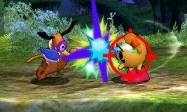 Dúo Duck Hunt usando su ataque Smash lateral en SSB4 (3DS)