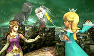 Zelda, Estela y Viridi en el Bosque Génesis SSB4 (3DS)