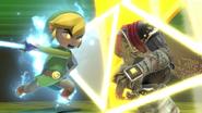 Toon Link usando su Smash Final en Ganondorf SSBU