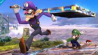 Waluigi, Luigi y Mario en Campo de Batalla SSB4 (Wii U)