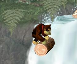 Donkey Kong sobre un tronco en Selva Kongo SSBM
