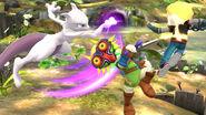 Mewtwo y dos Espadachines Mii en el Vergel de la esperanza SSB4 (Wii U)