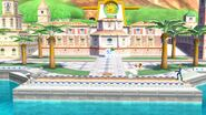 Samus Zero con Olimar y la Entrenadora de Wii Fit en Ciudad Delfino SSB4 (Wii U)