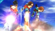 Tres Miis Lanzadores atacando en SSB4 (Wii U)