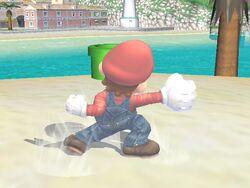 Ataque de recuperación de cara al suelo (2) Mario SSBB