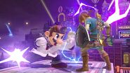 Ataque fuerte lateral Dr. Mario hacia Link SSBU