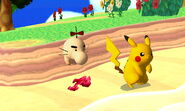 Pikachu junto a un Mr. Saturn SSB4 (3DS)