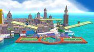 Samus Zero, Olimar y la Entrenadora de Wii Fit en Ciudad Delfino SSB4 (Wii U)