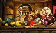 Donkey Kong junto a TAC y un Huerrero en la Smashventura SSB4 (3DS)