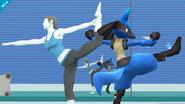 Lucario junto a la Entrenadora Wii Fit en la Zona de entrenamiento SSB4 (Wii U)