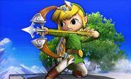 Toon Link con su arco en el Campo de Batalla SSB4 (3DS)