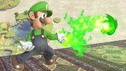 Luigi usando Bola de fuego SSBU