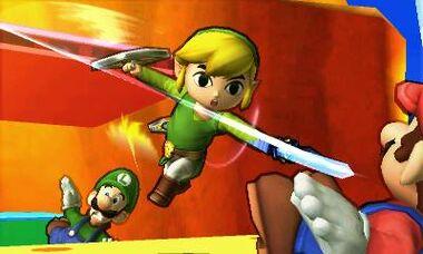 Toon Link, Mario y Luigi en un escenario desconocido SSB4 (3DS)