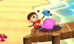 Ataque Smash hacia abajo Aldeano (1) SSB4 (3DS)