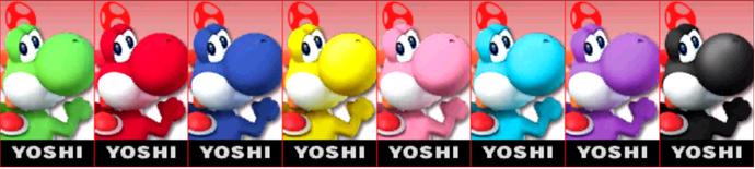 Paleta de colores de Yoshi SSB4 (3DS)