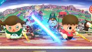 Shulk con los Aldeanos en Sobrevolando el pueblo SSB4 (Wii U)