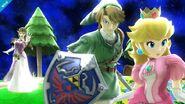 Zelda viendo a Link irse con Peach en Galaxia Mario SSB4 (Wii U)