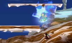 Bubble de hielo atacando a Duck Hunt en Smashventura SSB4 (3DS)