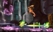 Charizard siendo atacado por dos Plasma Wisp en Smashventura SSB4 (3DS)