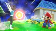 La Entrenadora de Wii Fit haciendo saludo al sol y Mario en Galaxia Mario SSBWiiU