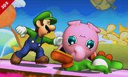 Luigi, Jigglypuff y Yoshi en la Isla de Yoshi SSB4 (3DS)