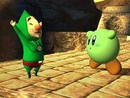 Tingle y Kirby en el Puente de Eldin SSBB